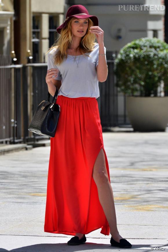 Jupe longue rouge boheme