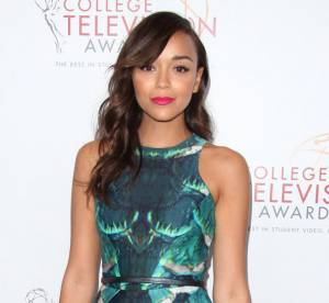 Ashley Madekwe VS elle-meme : la robe vert d'eau Monique Lhuillier