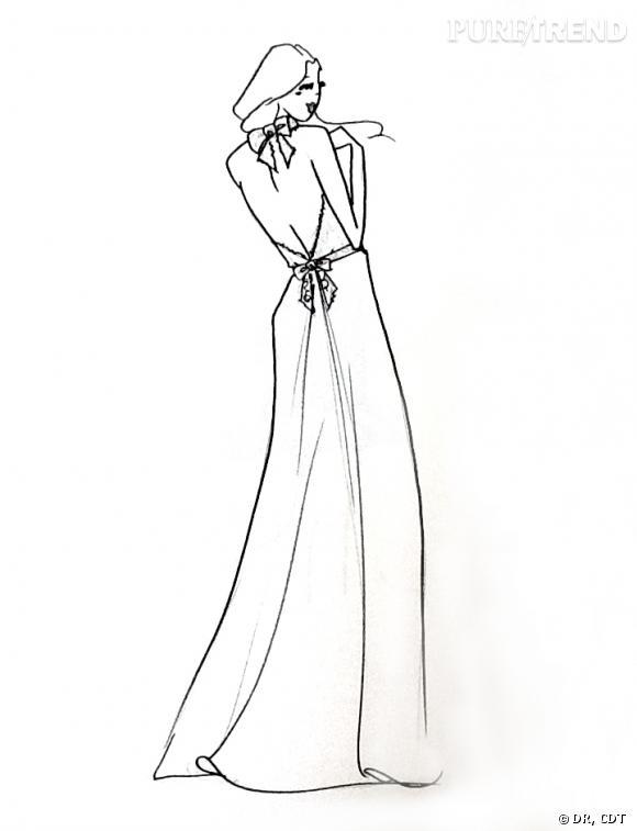 Carnet de mariage, les dernières retouches : Le croquis de la robe de mariée par Céline de Monicault.