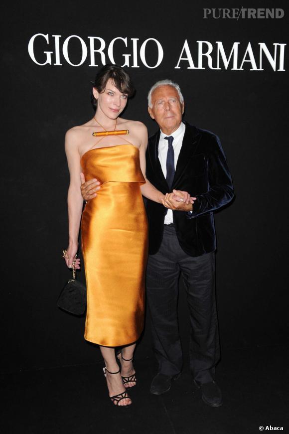 """Milla Jovovich et Giorgio Armani à la soirée """"One Night Only"""" organisée par Giorgio Armani."""