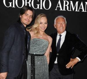 """Ornella Muti, un ami et Giorgio Armani à la soirée """"One Night Only"""" organisée par Giorgio Armani."""