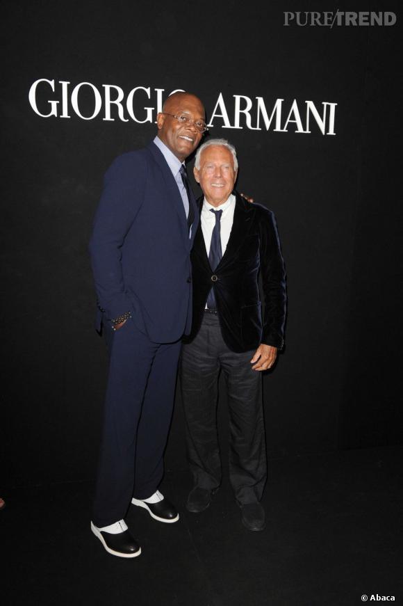 "Samuel L. Jackson et Giorgio Armani à la soirée ""One Night Only"" organisée par Giorgio Armani."