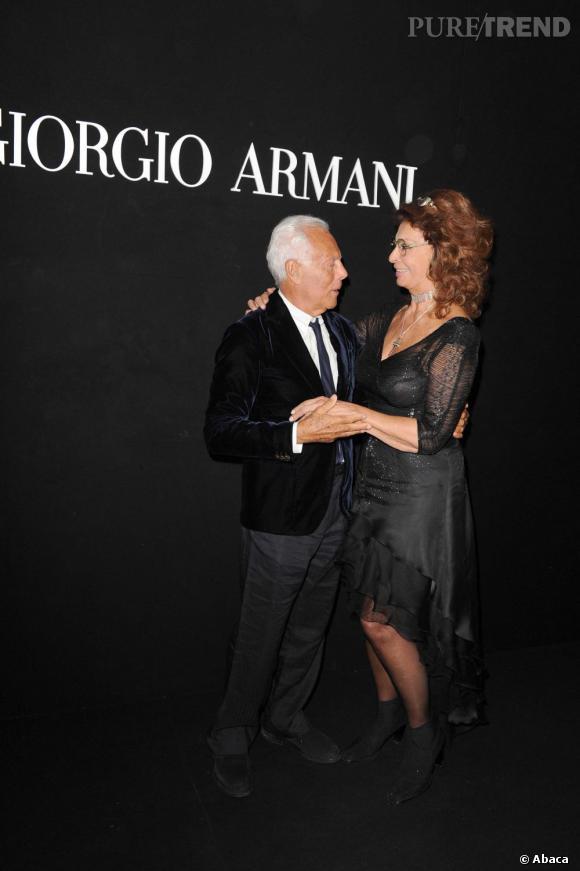"Sophia Loren et Giorgio Armani à la soirée ""One Night Only"" organisée par Giorgio Armani."