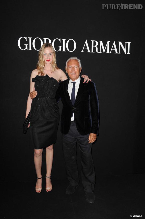 """Eva Riccobono et Giorgio Armani à la soirée """"One Night Only"""" organisée par Giorgio Armani."""