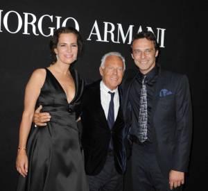 """Roberta Armani and Alessandro Preziosi et Giorgio Armani à la soirée """"One Night Only"""" organisée par Giorgio Armani."""