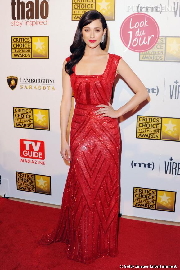 Emmy Rossum a fait une apparition éblouissante et sexy lors des Critics Choice Awards, le 10 juin 2013, au Beverly Hills Hôtel, en Californie.