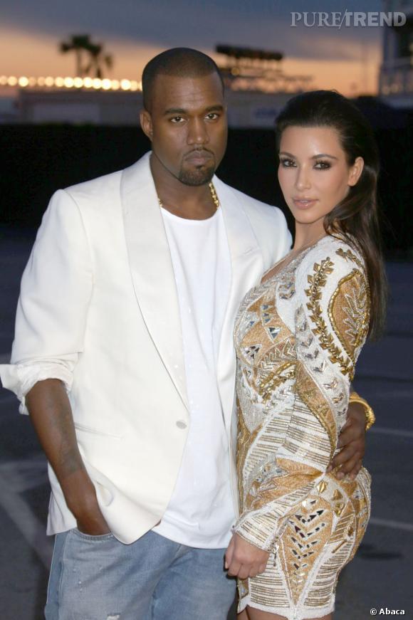Kim Kardashian et Kanye West, un couple glamour dont le mariage risque de faire  grand bruit.
