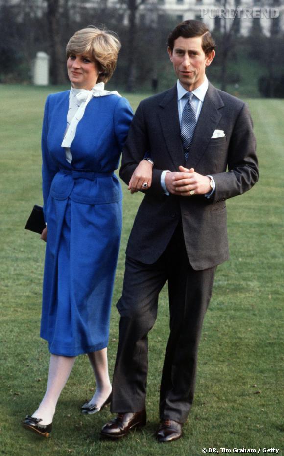 Les fiançailles : Charles & Diana    En Février 1981, Diana Spencer devient officiellement Princesse. Pour l'occasion, elle apparaît en ensemble bleu et affiche une bague saphir et diamants.