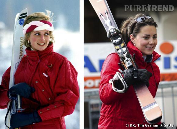 Même dress code, même combat    Au ski, le rouge est de mise et les accessoires sont sobres. C'est néanmoins Diana qui fait preuve de plus de style, coiffée d'un joli turban tressé.