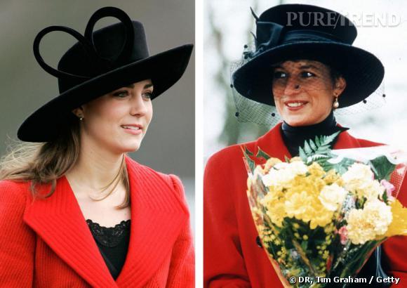 En rouge et noir    Kate Middleton et Diana Spencer font rimer rouge et noir et craquent pour un chapeau excentrique. Simple hasard ?