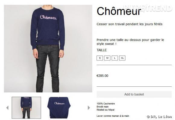 """Le pull Le Léon """"Chômeur"""" qui affole les réseaux sociaux, vendu à 285€."""