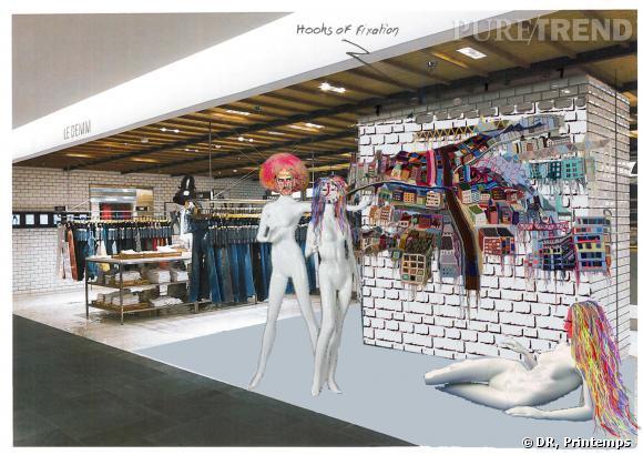 L'espace Denim du Printemps de la Mode accueillera une oeuvre en crochet de l'artiste Jo Hamilton.
