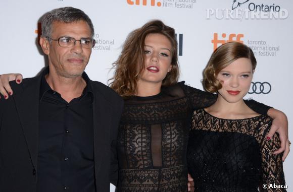 """Léa Seydoux Abdellatif Kechiche et Adèle Exarchopoulos : l'équipe du film """"La vie d'Adèle"""" à Toronto."""