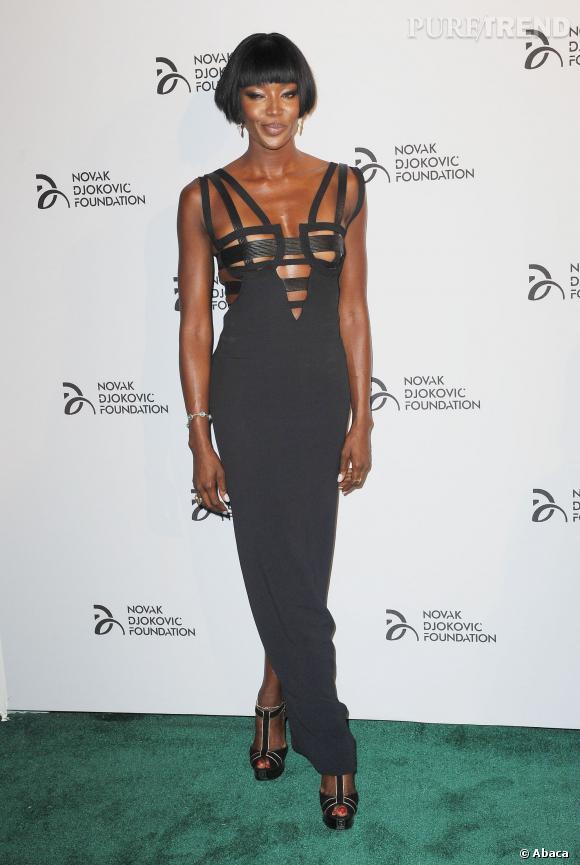 Naomi Campbell, coup d'éclat à la soirée de la Novak Djokovic Foundation à New York le 10 septembre 2010.
