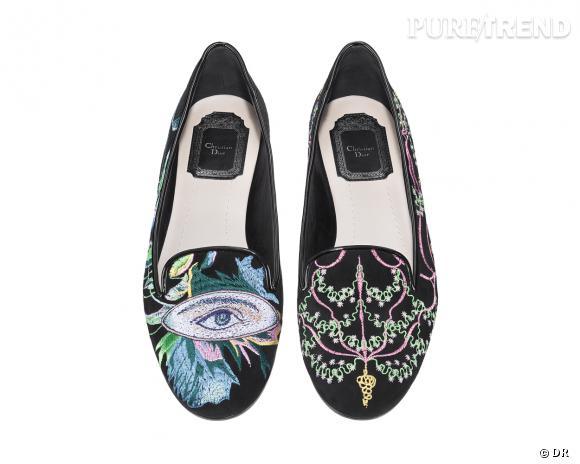 It-shoes : 30 objets de désir pour cet Automne-Hiver 2013/2014 Slippers brodés Christian Dior, 590 €