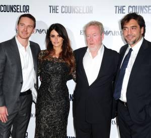 """Michael Fassbender, Penelope Cruz, Ridley Scott et Javier Bardem à la première londonienne de """"Counselor""""."""