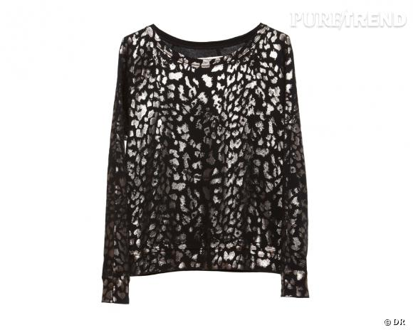 Shopping tendance animal print : top léopard métallique Current/Elliott, environ 130 €