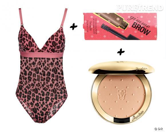 Lingerie + make-up, les associations sexy : body Stella McCartney, 80 € + gel voluminateur sourcils Gimme Brow, Benefit, 25 € +  poudre compacte transparente, voile de matité, Les Voilettes, Guerlain, 45 €