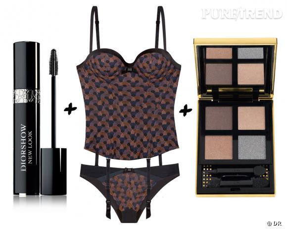 Lingerie + make-up, les associations sexy : mascara Siorshow New Look, Dior, 29,70 € + bustier et slip Sonia, Lou Paris, 119 et 38 € + palette City Drive Classy, Yves Saint Laurent, 53 €