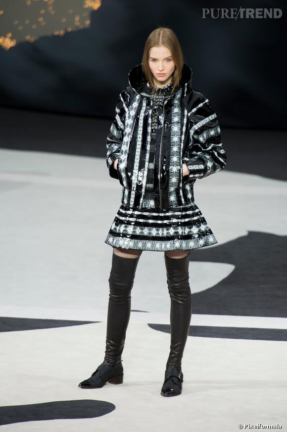 Le noir & blanc graphique, tendance vue chez Chanel  Défilé Automne-Hiver 2013/2014
