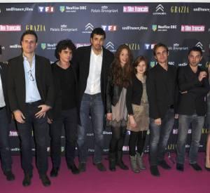"""Une partie de l'équipe """"Les Revenants"""" lors de la cérémonie des 20ème """"Trophées du Film Français""""en février."""