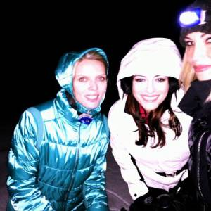 Rachel Legrain-Trapani, balade en raquette avec Sylvie Tellier et Alexandra Rosenfeld, sa grande copine.
