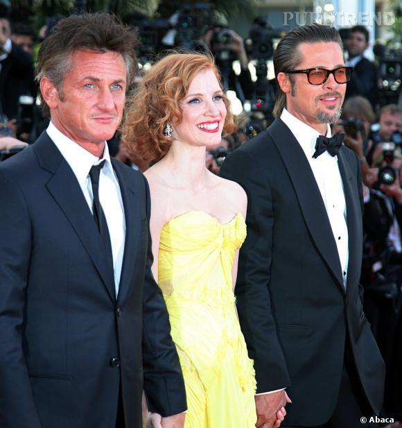 """Sean Penn, Jessica Chastain et Brad Pitt au Festival de Cannes pour """"Tree of Life"""", en 2011."""