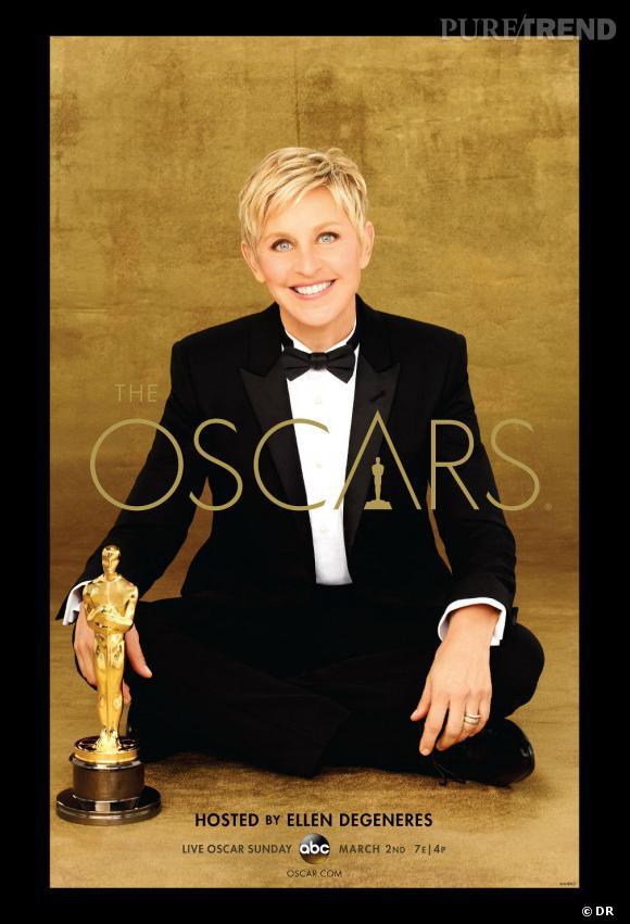 Ellen DeGeneres sur l'affiche des 86ème Oscars.