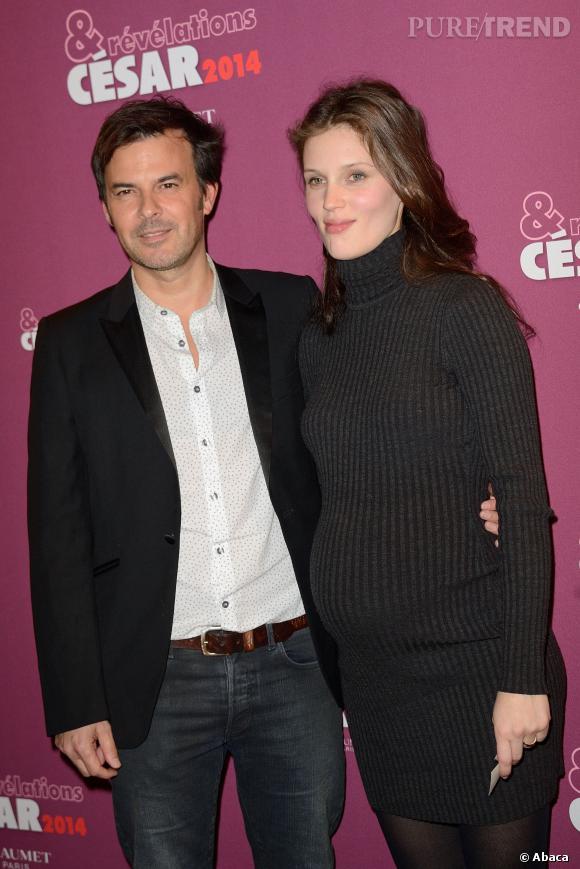Varine Vacth, enceinte, et le réalisateur François Ozon au dîner des révélations des César 2014.