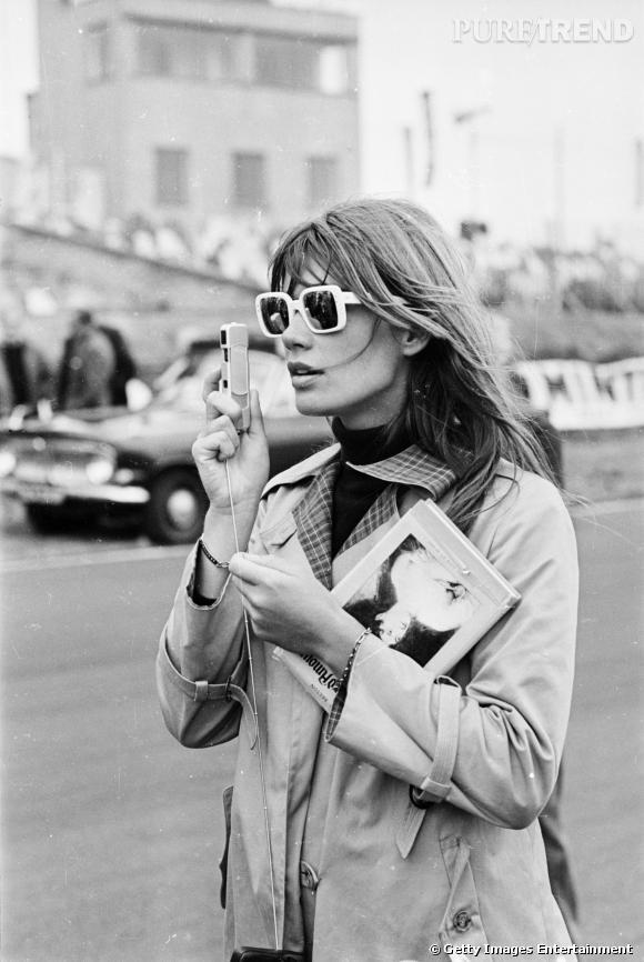 """Françoise Hardy pendant le tournage de """"Grand Prix"""" en 1966."""