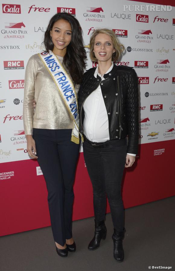 Flora Coquerel et Sylvie Tellier, très enceinte au 93ème Grand Prix d'Amérique.
