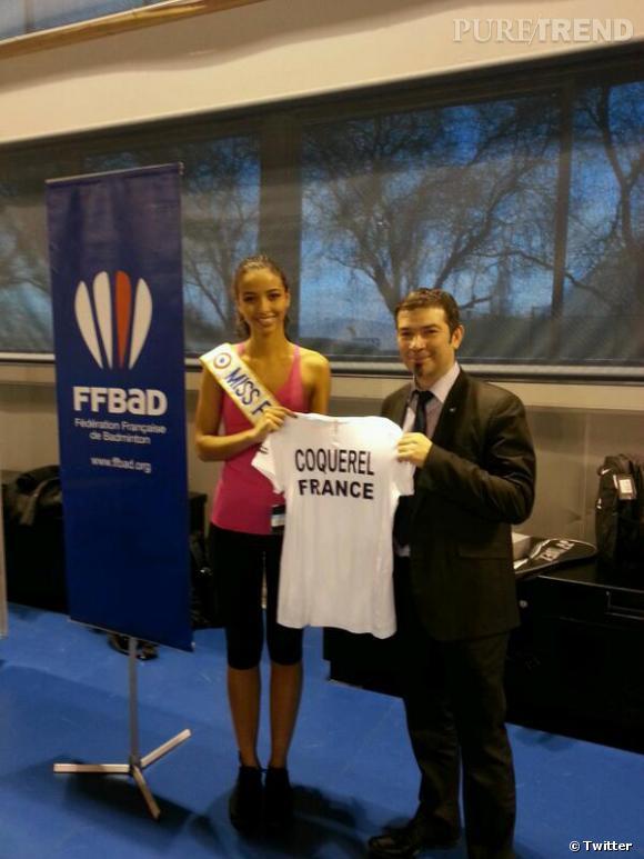 Flora Coquerel était la nouvelle recrue de charme de l'équipe de France de badminton le temps d'un entraînement, le 7 février 2014.