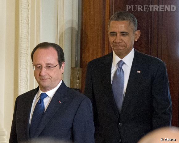"""François Hollande et Barack Obama : pas d'incident diplomatique mais une ironie du sort lorsque Mary J. Blige s'est mise à chanter """"Ne Me Quitte Pas"""", le 11 février 2014, à la réception de la Maison Blanche."""