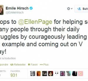 Nombreuses ont été les stars à la féliciter, comme Emile Hirsch.