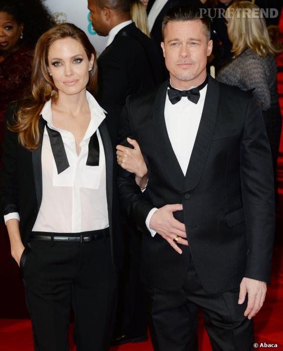 Angelina Jolie et Brad Pitt, ultra-glamour et parfaitement assortis hier soir lors des BAFTA Awards 2014.