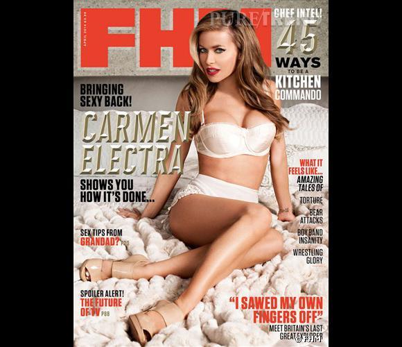 À 41 ans, Carmen Electra est la plus vieille cover girl de FHM pour le mois d'avril 2014.