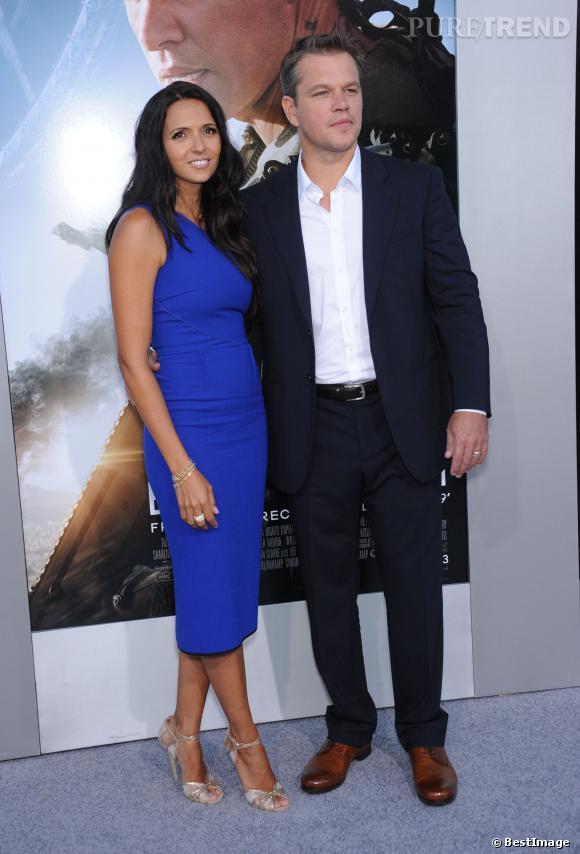 """Matt Damon et sa femme Luciana Barroso lors de la première du film """"Elysium"""" en août 2013."""