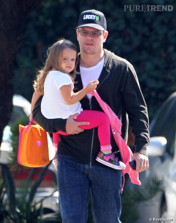 Matt Damon, un vrai papa poule avec ses enfants. Ici avec sa fille Stella en octobre 2013.