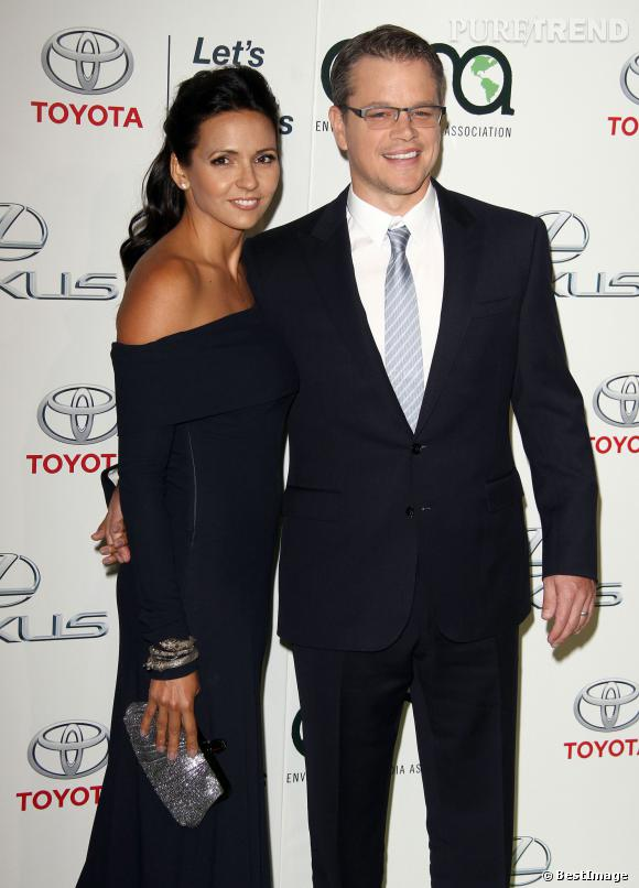 "Matt Damon et sa femme Luciana Damon à l'""Annual Environmental Media Awards"" 2013 en octobre 2013."