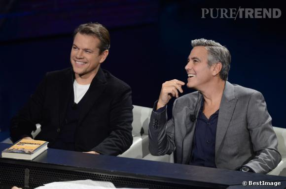 """Matt Damon et son ami George Clooney sur le plateau de l'émission """"Che Tempo Che Fa"""" à Milan, en février 2014."""