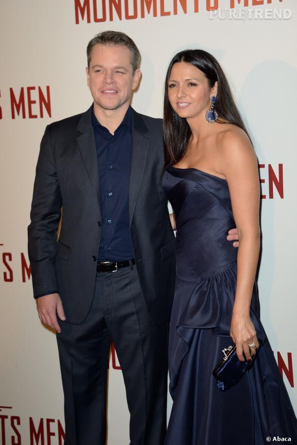 """Matt Damon et sa femme Luciana Barroso à la première du film """"The Monuments Men"""" en février 2014."""