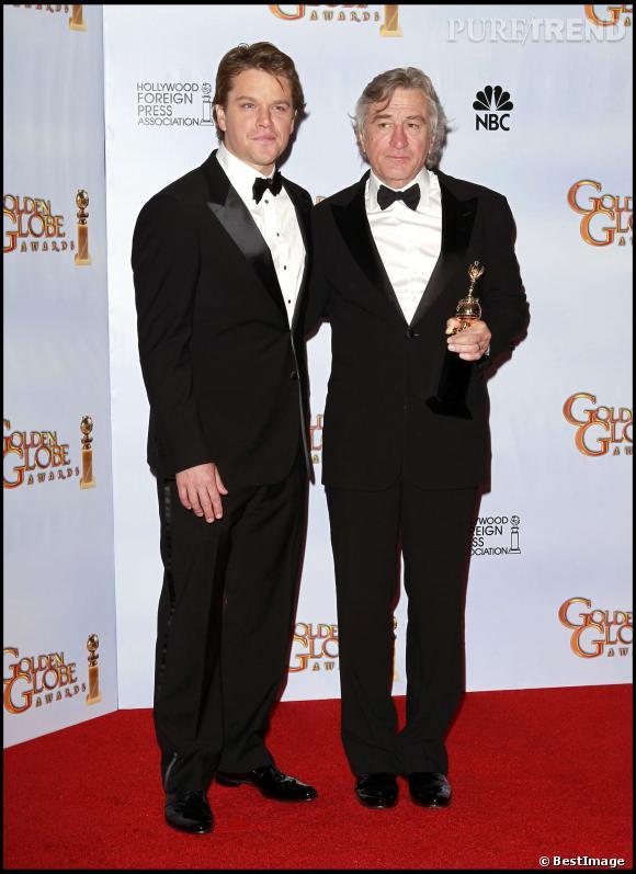 Matt Damon et Robert De Niro lors de la 68èmes cérémonie des Golden Globe Awards en janvier 2011.