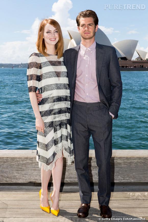 """Emma Stone et Andrew Garfield démarrent leur marathon promo à Sydney pour le film """"The Amazing Spider-Man 2""""."""