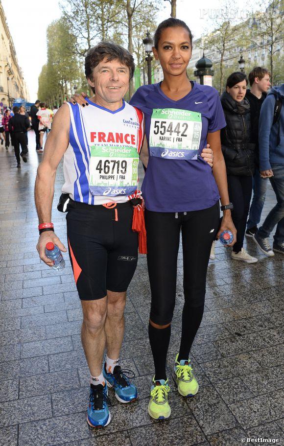 Karine Le Marchand a participé au marathon de Paris le dimanche 6 avril 2014. Elle était accompagnée de Philippe, participant à l'Amour est dans le pré l'année dernière.