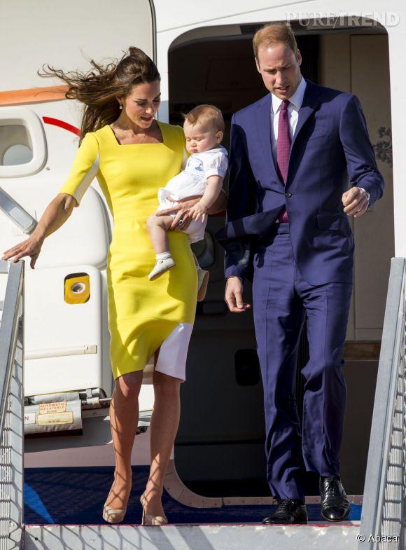 Kate Middleton, le Prince William et le Prince George à leur arrivée en Australie le 16 avril 2014.