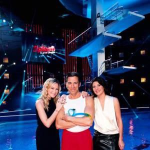 Julie Taton, Gérard Vives et Estelle Denis lors de la première édition de Splash en 2013.