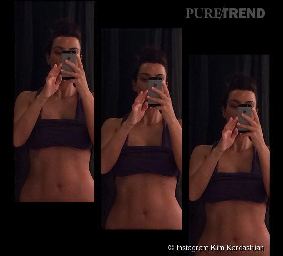 Kim Kardashian, fière de son ventre plat et musclé.