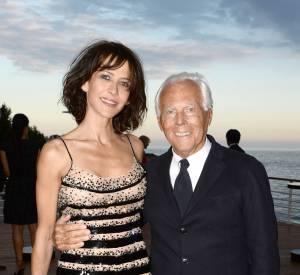 Sophie Marceau et Giorgio Armani à la soirée Vanity Fair et Giorgio Armani à Cannes le samedi 17 mai 2014. Glitter et décolletée, elle est à tomber à la renverse !