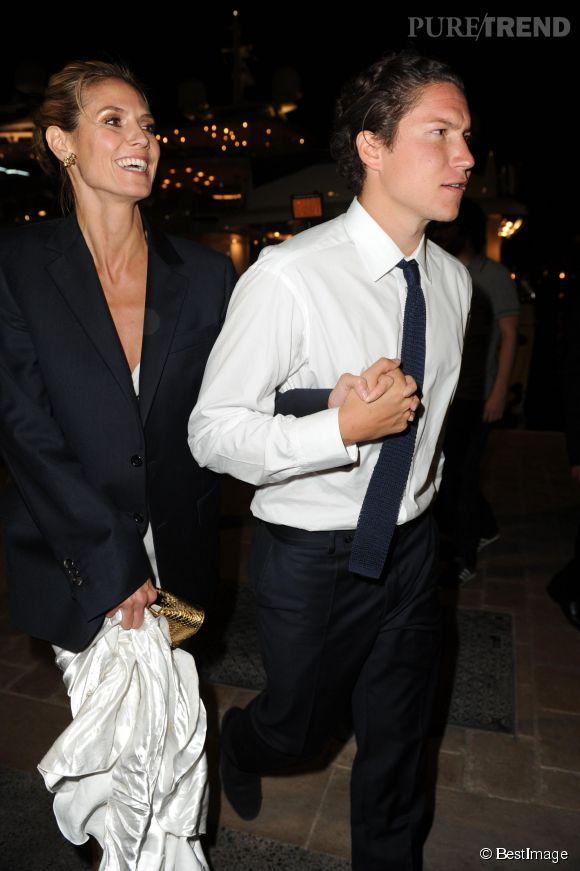 Heidi Klum et Vito Schnabel, son petit ami depuis quelques mois, se rendent à la soirée de Roberto Cavalli à Cannes.