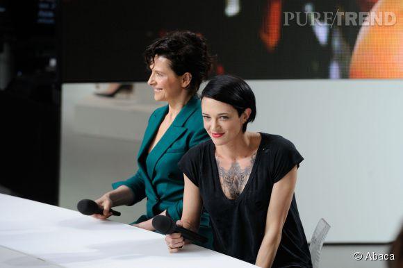 Asia Argento et Juliette Binoche au Grand Journal le 22 mai 2014.